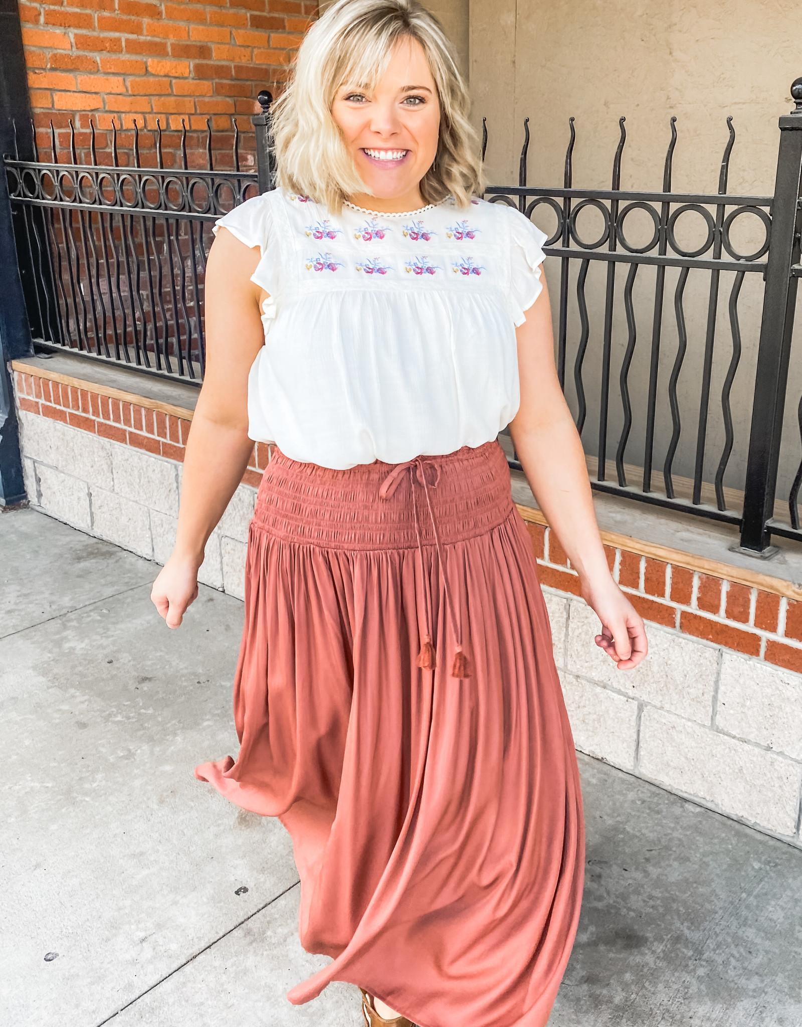 Clay Satin Maxi Skirt