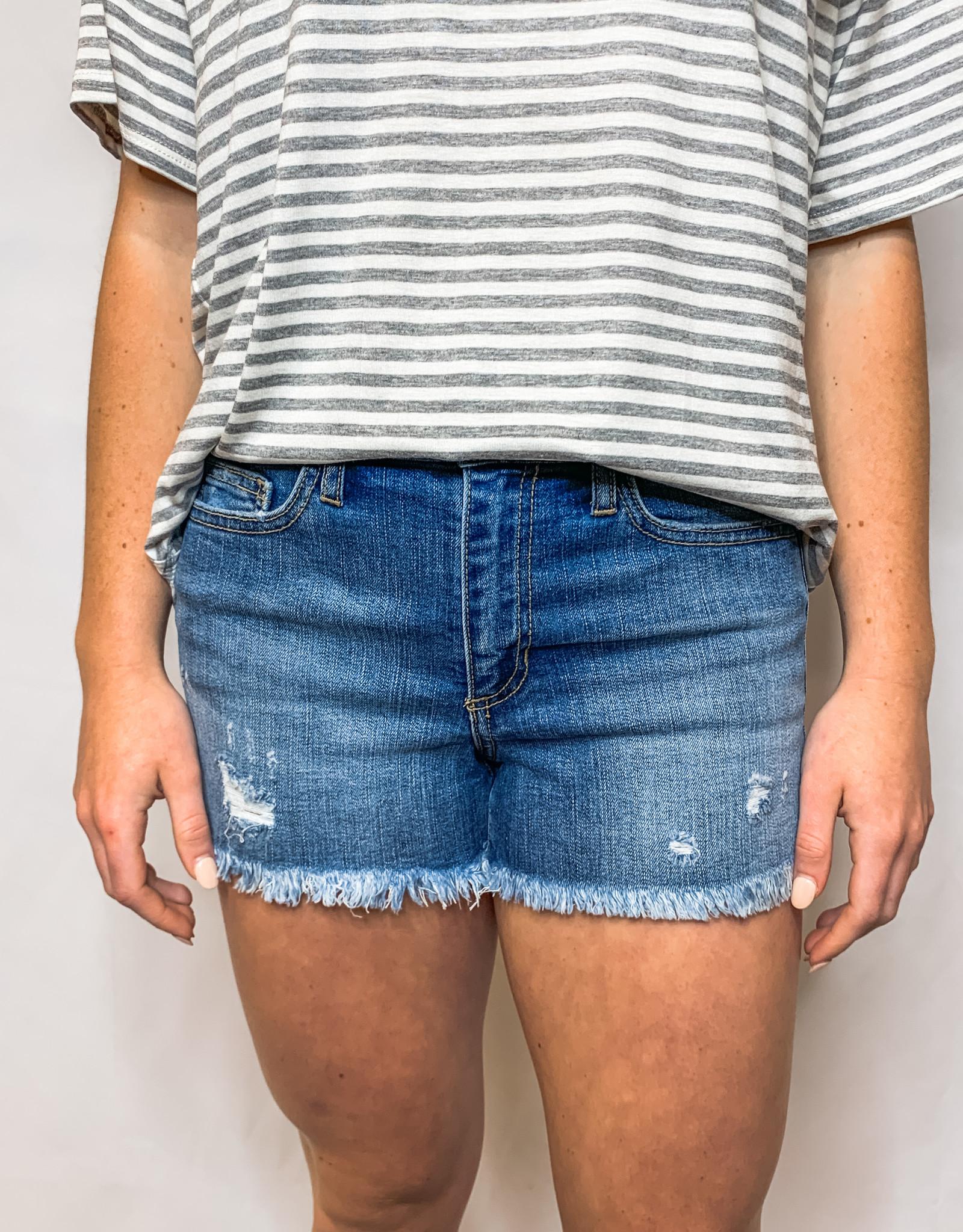 Mid-rise Frayed Shorts