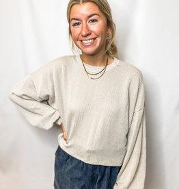 Cropped Ribbed Sweatshirt