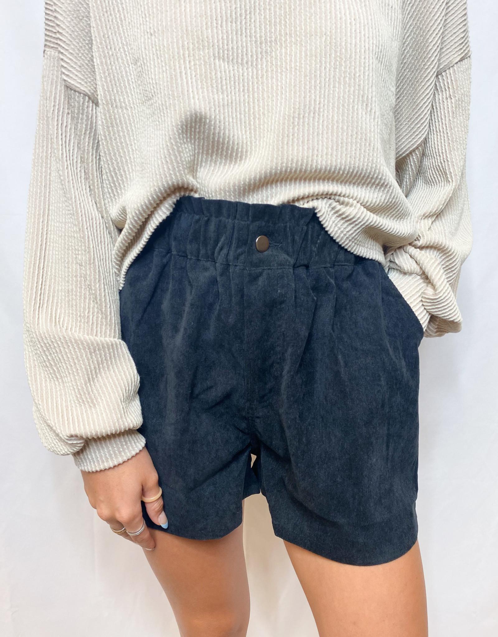 Black Corduroy Short