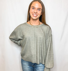 Olive Ribbed Pullover