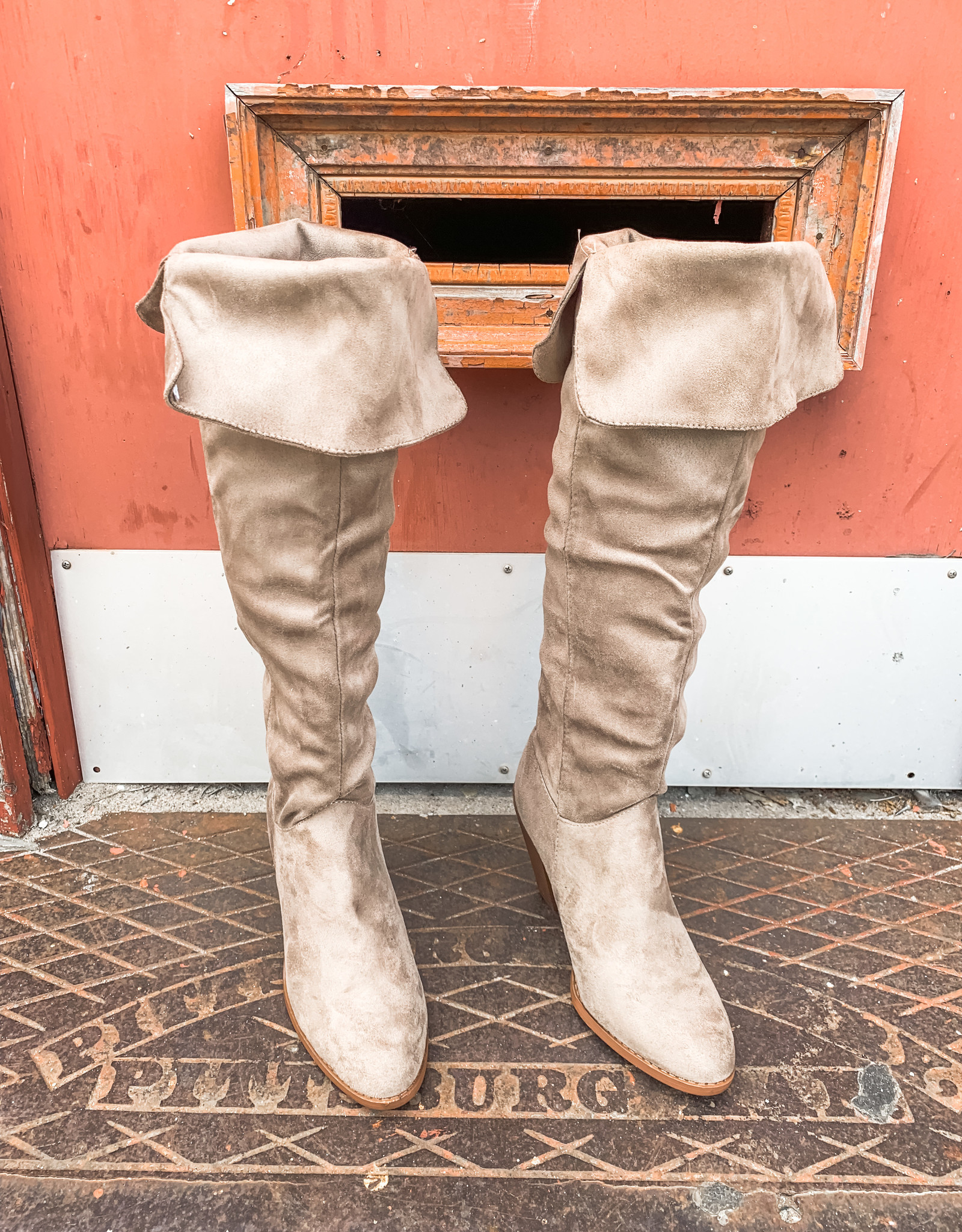 Taupe Fold-Over Boots