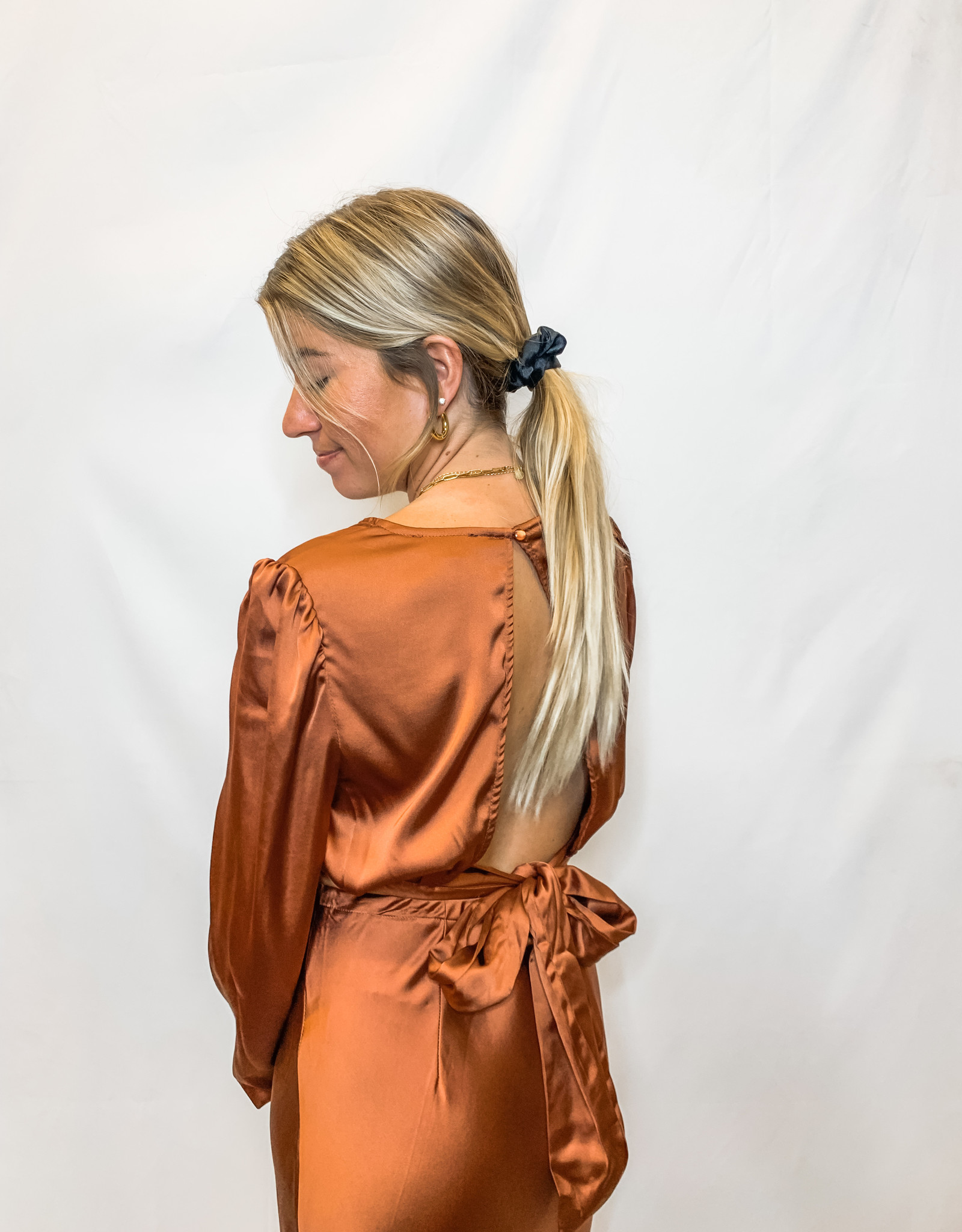 Rust Satin Top