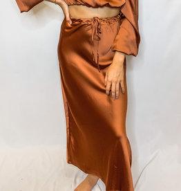 Rust Satin Skirt