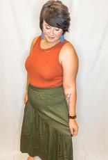 Olive Asymmetrical Skirt