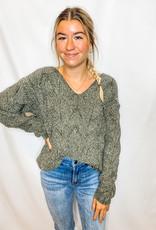 Olive V-Neck Sweater