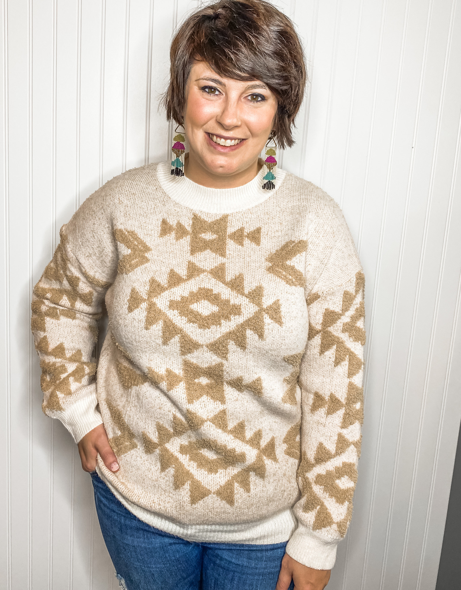Geometric Ivory Sweater
