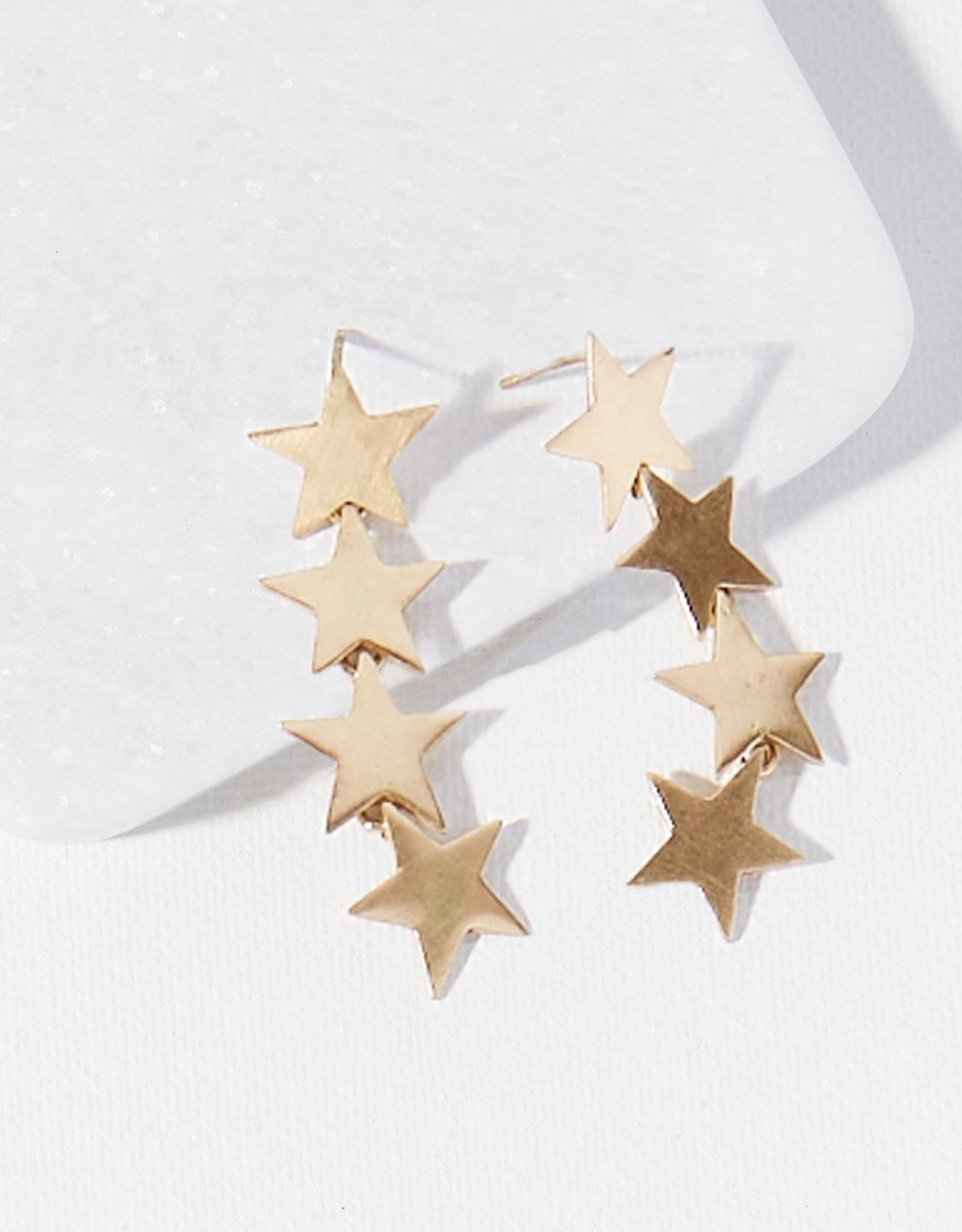 Brass Falling Stars Earring