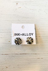 Black Confetti Button Post Beaded Earring