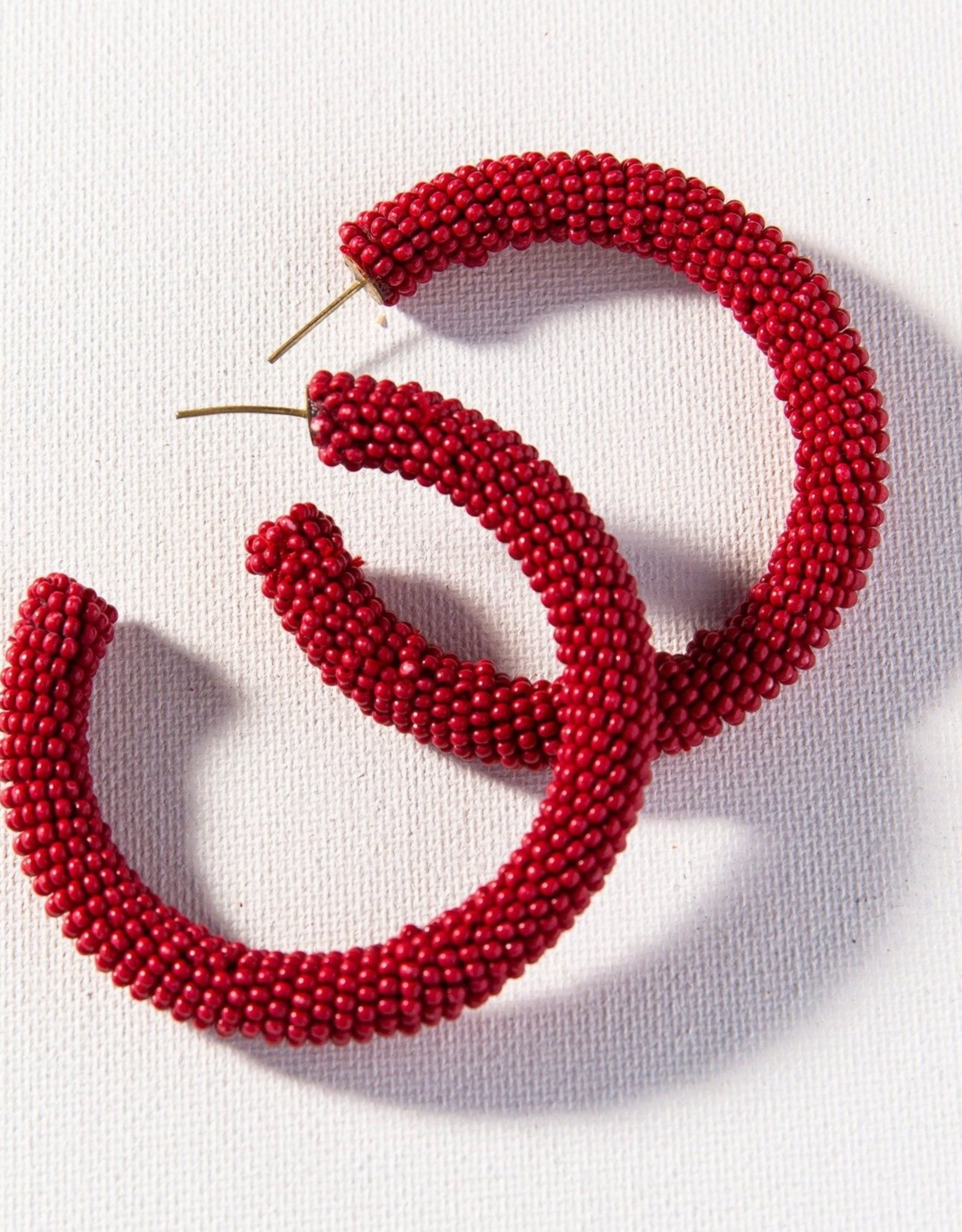 Solid Red Seed Bead Hoop