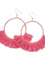 Hot Pink Fringe Hoop Seed Bead Earring