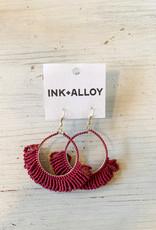 Red Fringe Hoop Seed Bead Earrings