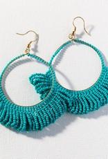 Teal Fringe Hoop Seed Bead Earrings
