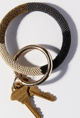 Black Gold Ivory Color Block Seed Bead Key Ring