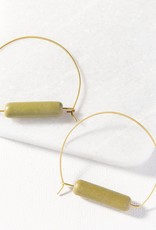 Olive and Brass Ceramic Hoop Earring