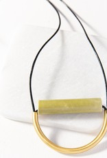 Olive Ceramic And Brass Necklace With Leather Cord