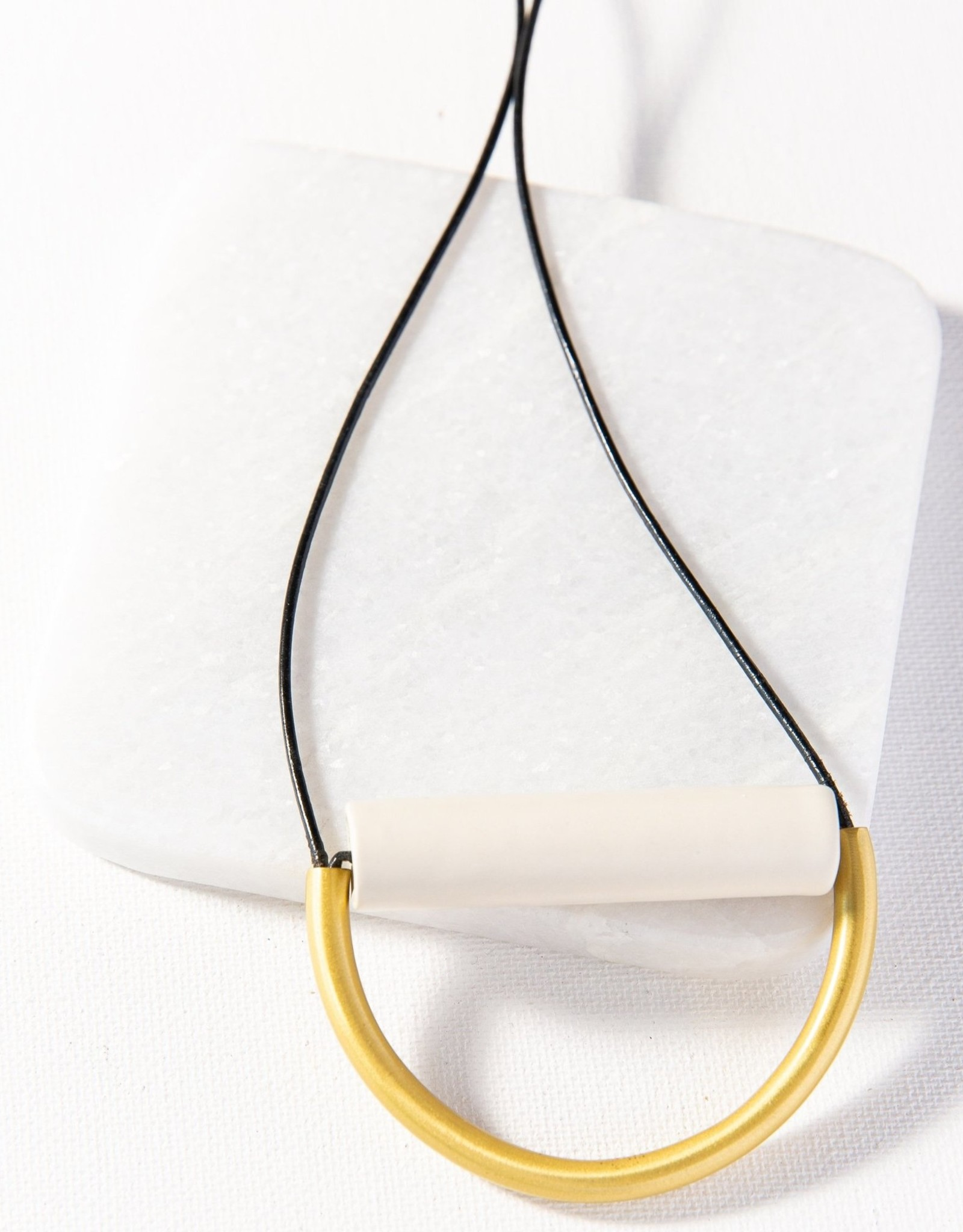 Ivory Ceramic And Brass Necklace With Leather Cord