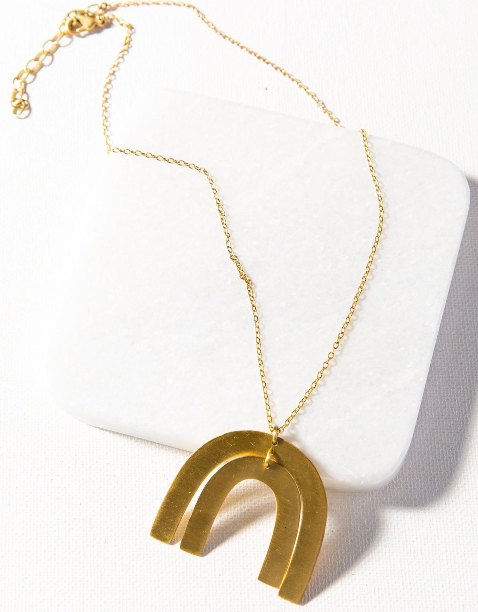 Matte Brass Rainbow Necklace