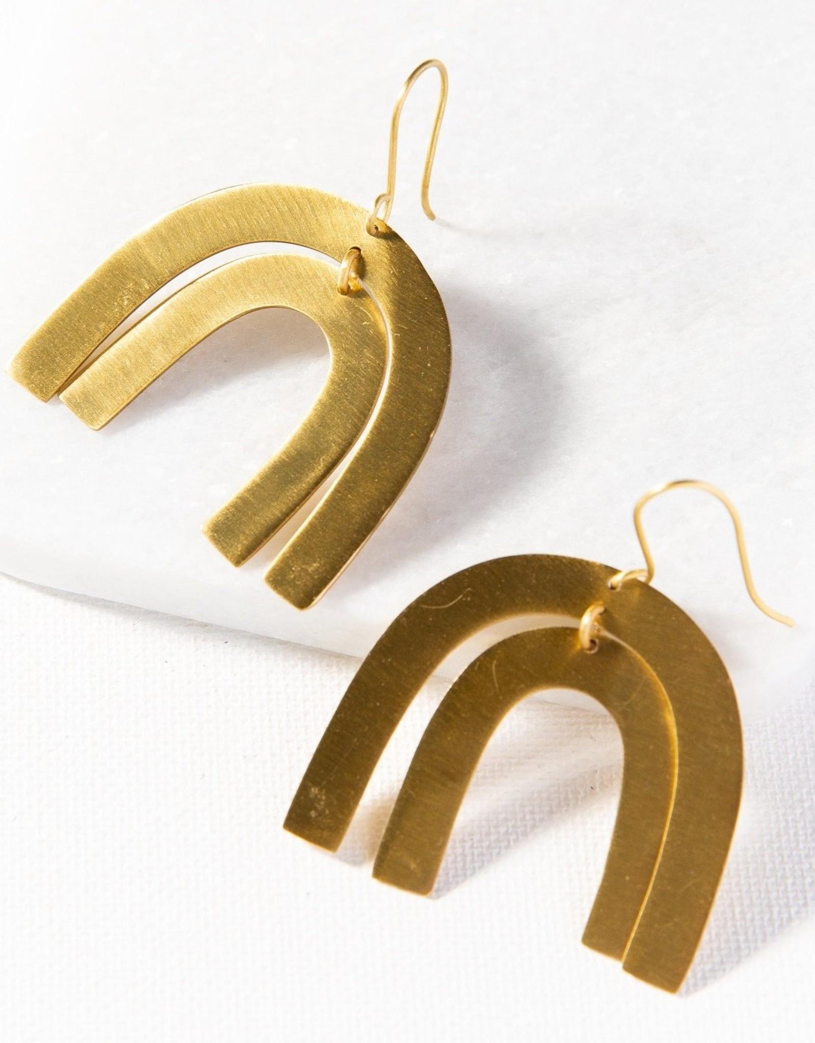 Matte Brass Rainbow Dangle Earring