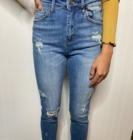 Relaxed High Rise Distressed Skinny