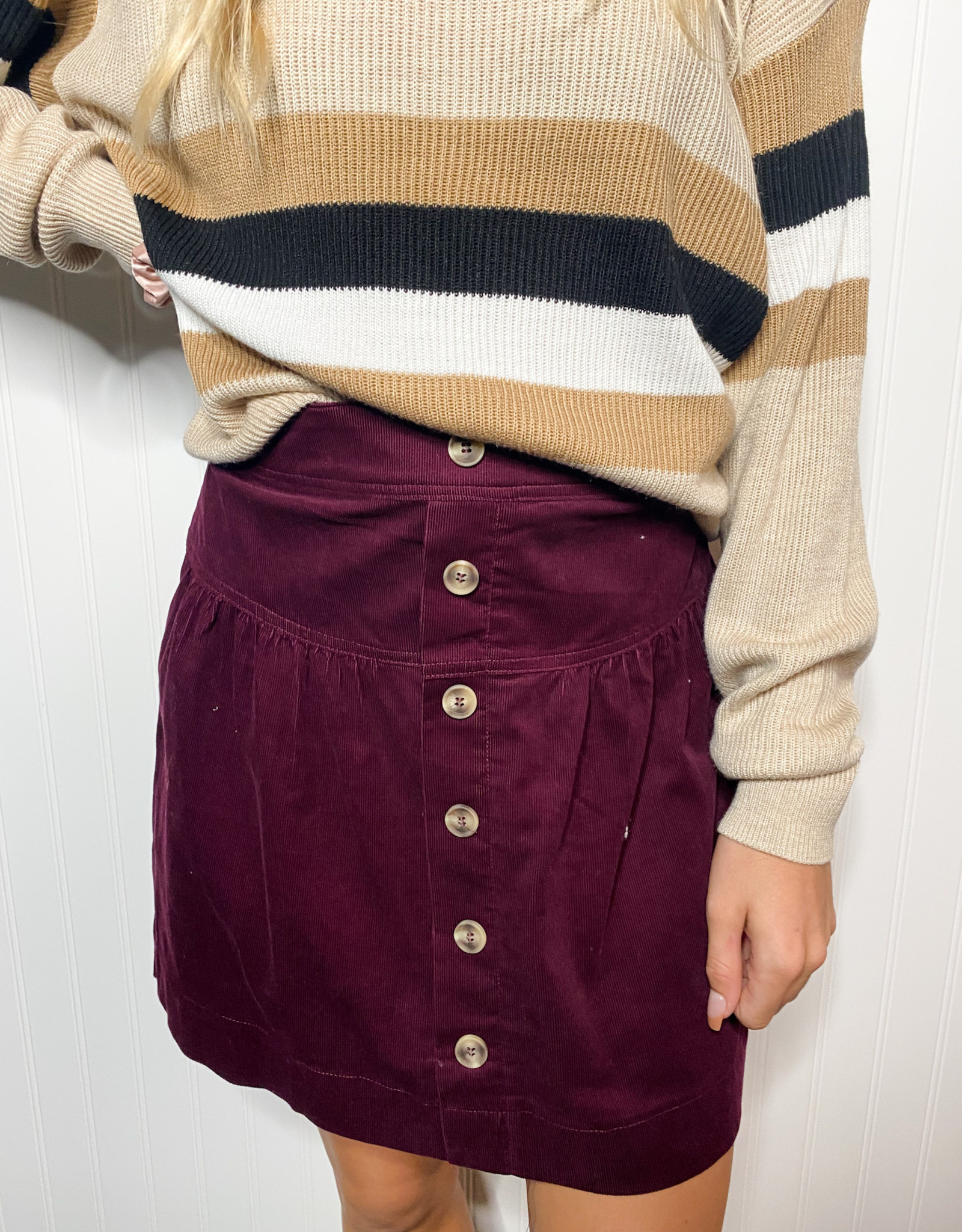 Wine Button Down Skirt