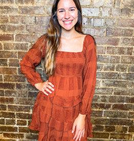 Rust Simple Gingham Dress