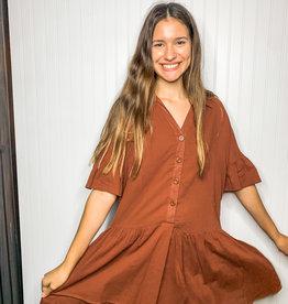 Brick Button-Up Dress