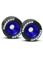 Traxxas TRA5186A Traxxas Wheels, aluminum (blue-anodized) (2)/ 5x8mm ball bearings (4)/ axles (2)/ rubber tires (2)