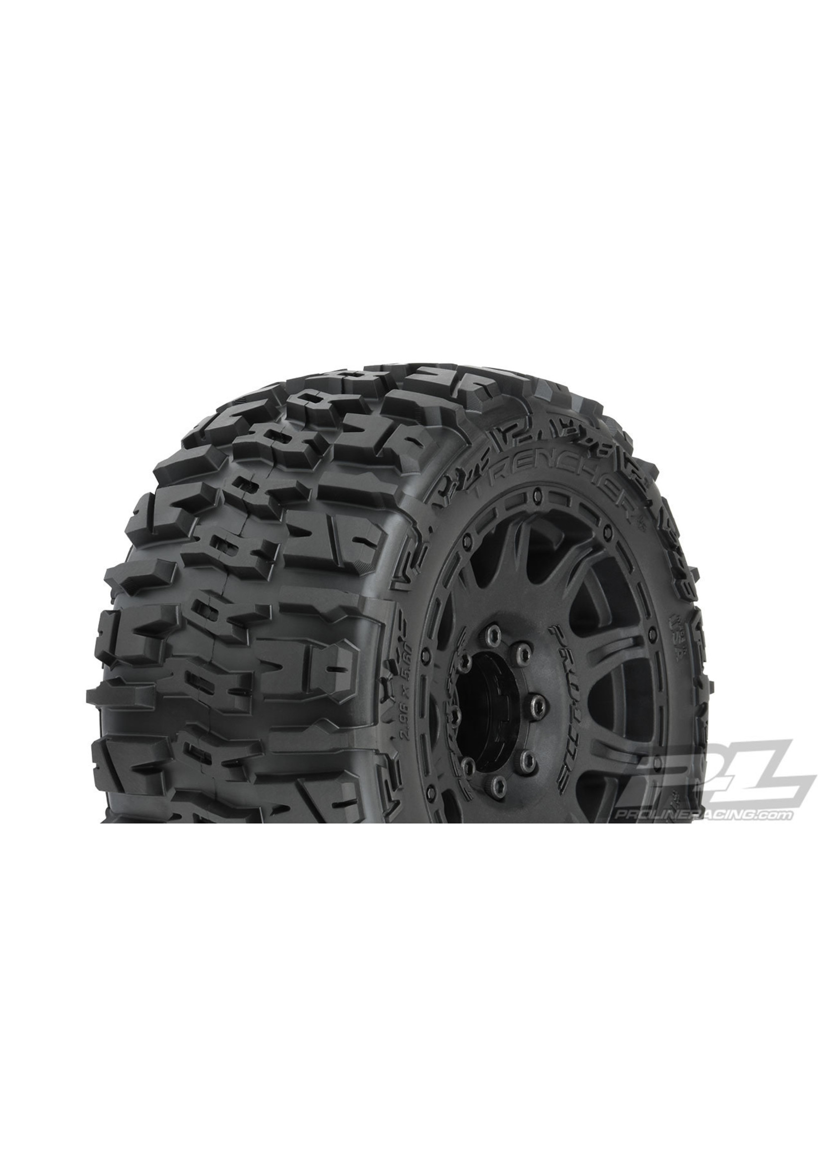Pro-Line Racing PRO10175-10 Pro-Line Trencher LP 3.8'' Pre-Mounted Truck Tires (2) (Black) (M2) w/Raid 8x32 Removable Hex Wheels