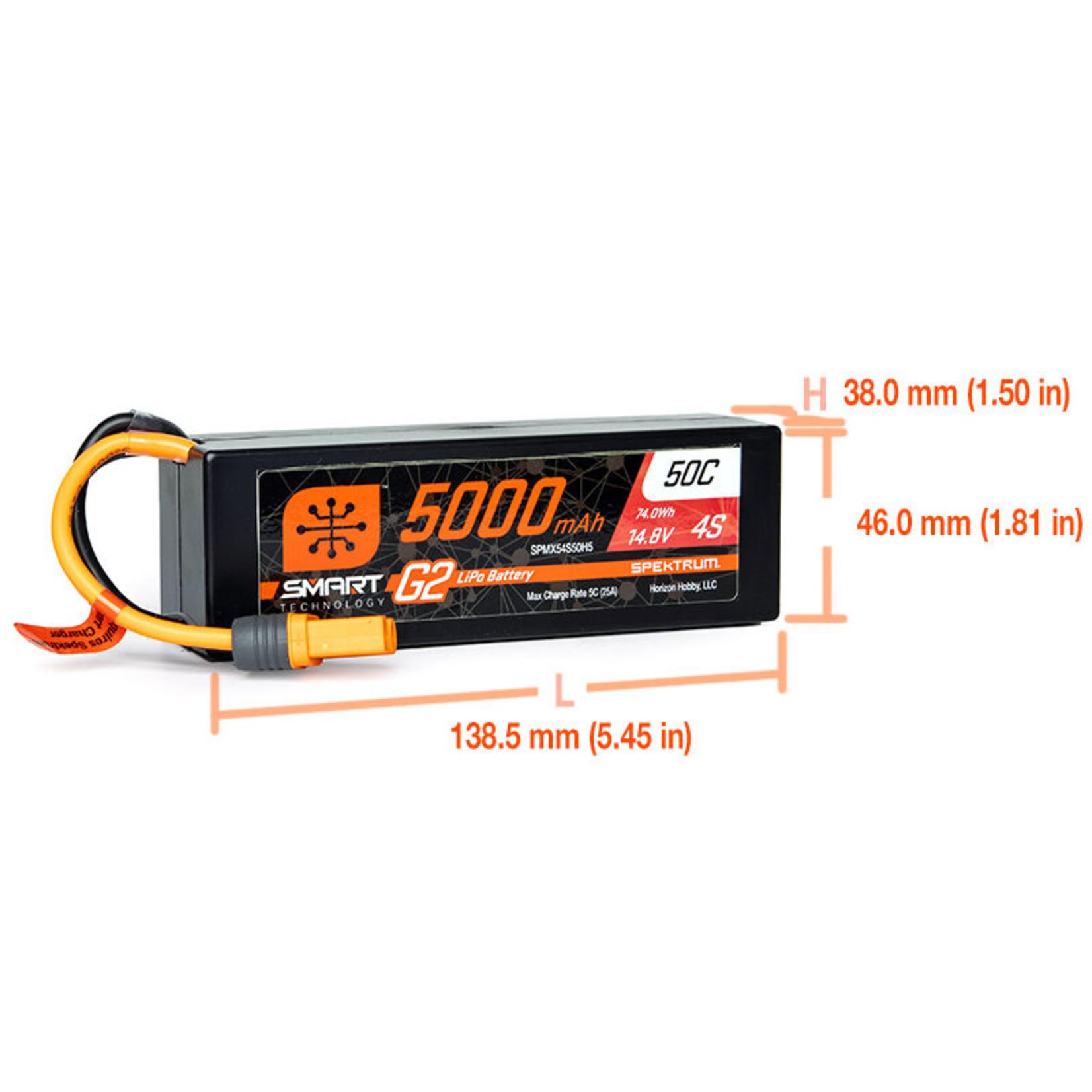 SPMX54S50H5 Spektrum 14.8V 5000mAh 4S 50C Smart LiPo G2 Hard Case: IC5