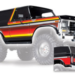 Traxxas TRA8010X Traxxas Body, Ford Bronco (1979), Complete (Black) (Includes Front And Rear Bumpers, Push Bar, Rear Body Mount, Grille, Side Mirrors, Door Handles, Windshield Wipers, Spare Tire Mount, Red And Sunset Decals) (Requires #8072 Inner Fenders)