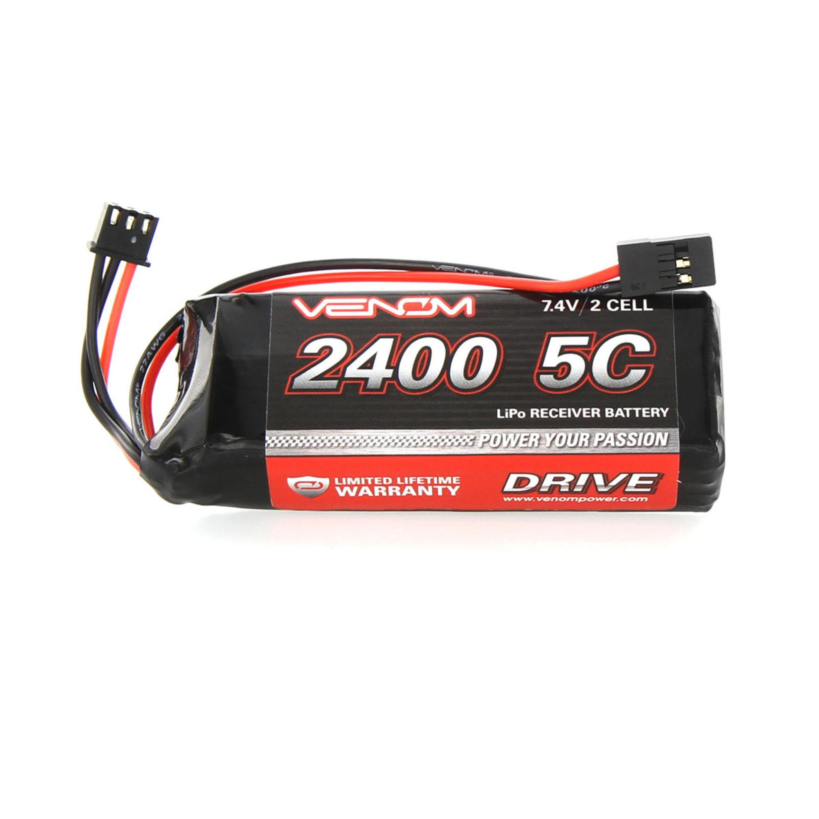 Venom VNR15000 Venom DRIVE 5C 2S 2400mAh 7.4V LiPo RX/TX Flat Pack