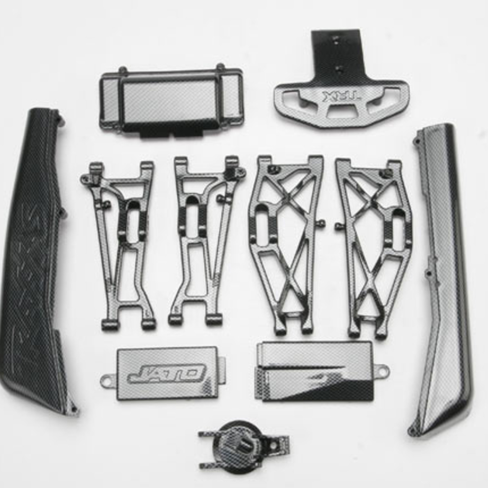 Traxxas TRA5522G Traxxas Complete Exo-Carbon Kit, Jato (Includes Rear & Mid-Chassis Battery Covers, Receiver Cover, Dirt Guards, Suspension Arms, Front Bumper, & Fuel Tank Cap)