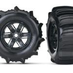 Traxxas TRA7773 Traxxas Tires & Wheels, Assembled, Glued (X-Maxx Black Wheels, Paddle Tires, Foam Inserts) (Left & Right) (2)