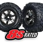 Traxxas TRA7772A Traxxas Tires & Wheels, Assembled, Glued (X-Maxx Black Chrome Wheels, Maxx At Tires, Foam Inserts) (Left & Right) (2)