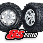 Traxxas TRA7772R Traxxas Tires & Wheels, Assembled, Glued (X-Maxx Satin Chrome Wheels, Maxx At Tires, Foam Inserts) (Left & Right) (2)