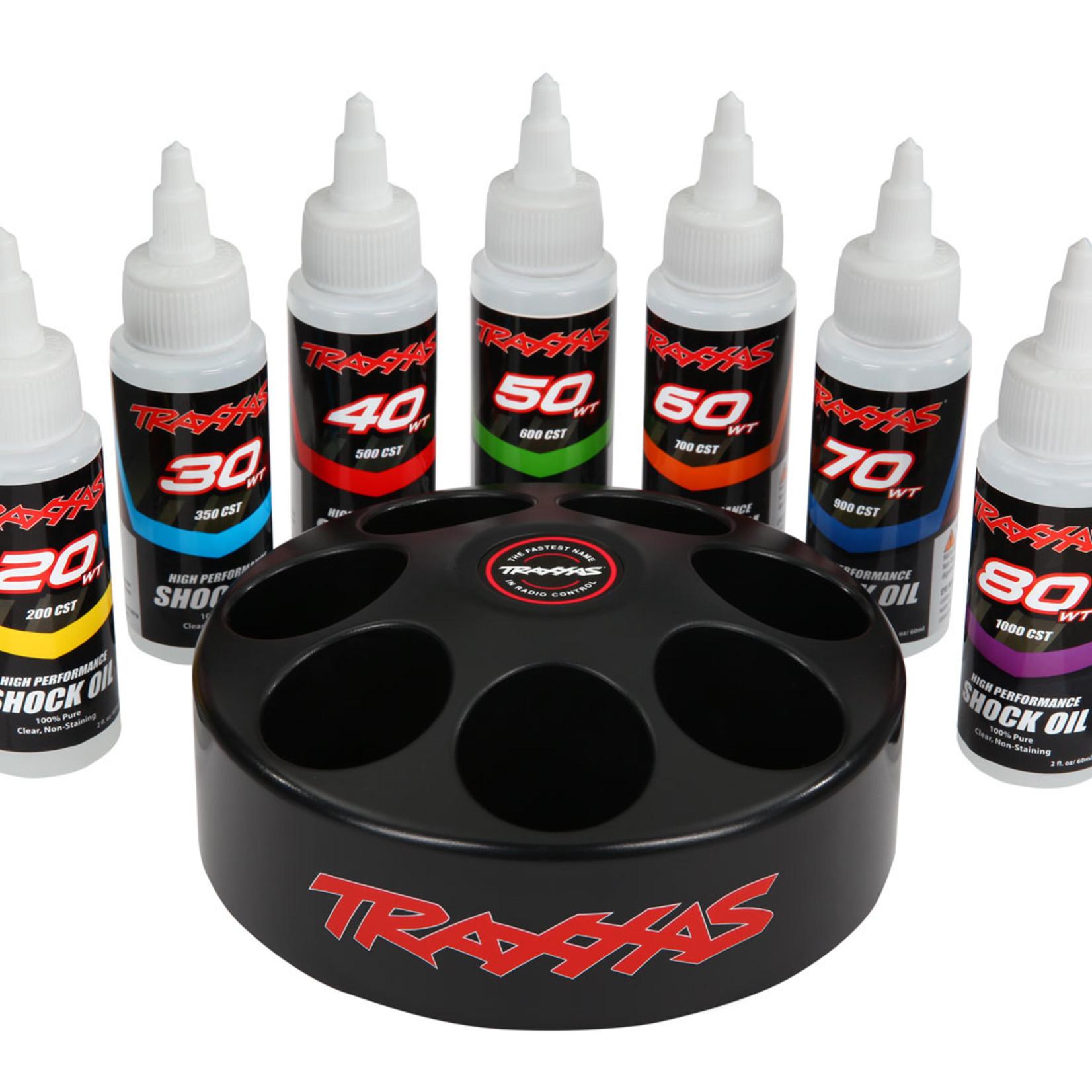 Traxxas TRA5038X Traxxas Shock Oil Set (Includes 20 Wt, 30 Wt, 40 Wt, 50 Wt, 60 Wt, 70 Wt, & 80 Wt Premium Shock Oils with Spinning Carousel Rack)