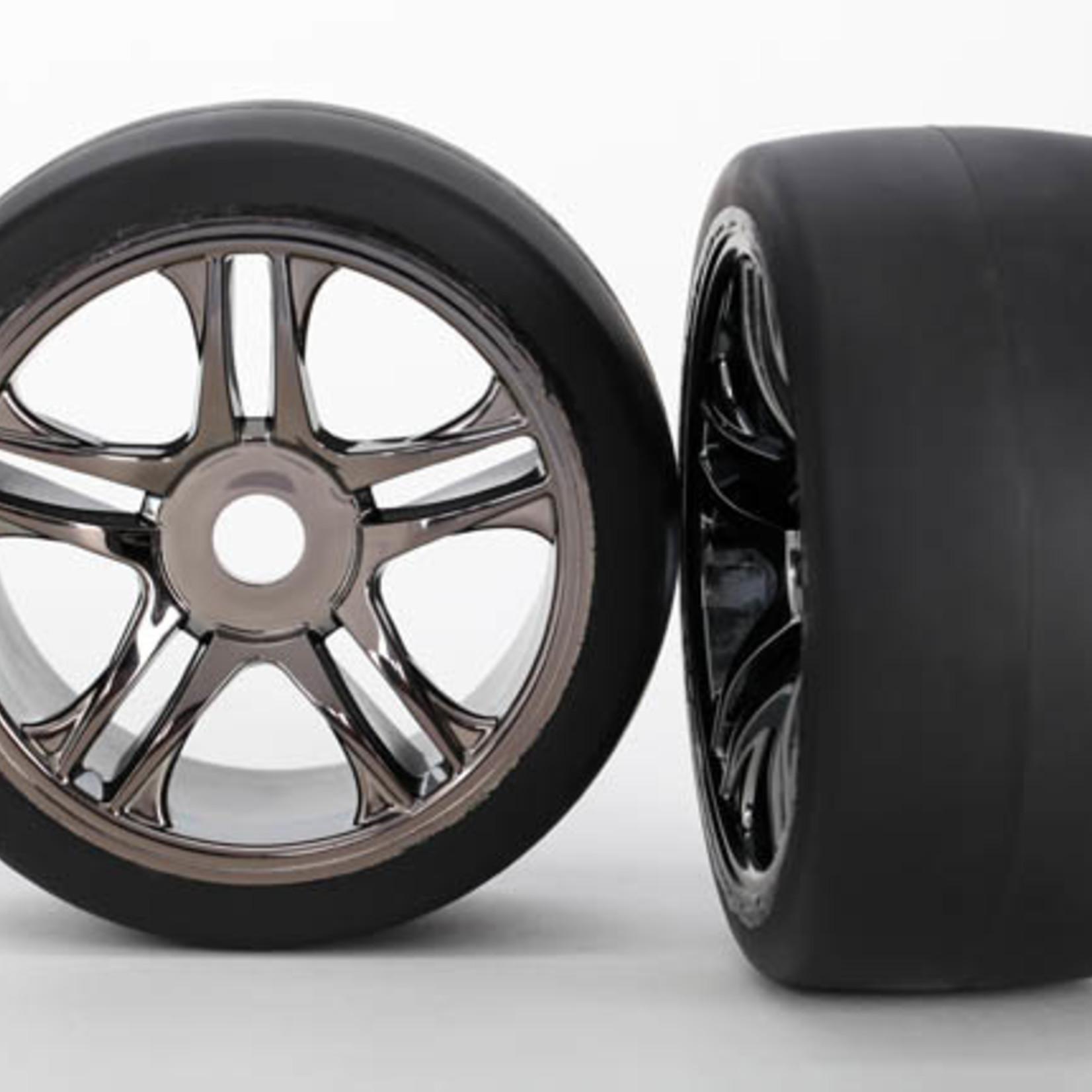Traxxas TRA6479 Traxxas Tires & Wheels, Assembled, Glued (Split-Spoke, Black Chrome Wheels, Slick Tires (S1 Compound), Foam Inserts) (Front) (2)