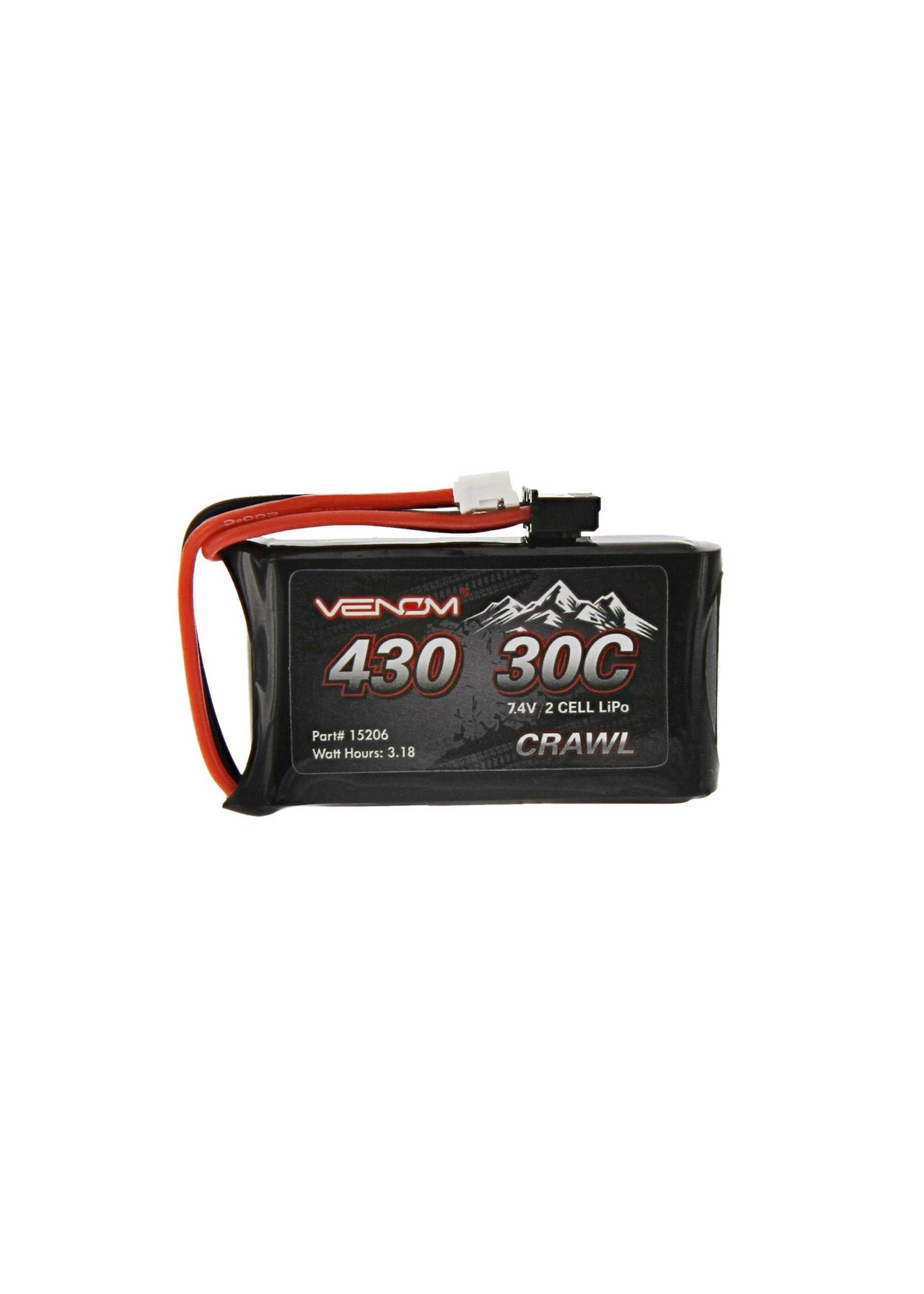 Venom VNR15206 Venom 7.4V 430mAh 2S 30C LiPo Battery JST-PH 2.0 SCX24