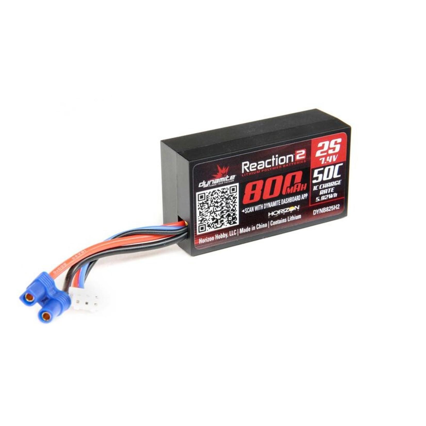 Dynamite DYNB825H2 Dynamite 7.4V 800mAh 2S 50C Hardcase LiPo Battery: EC2