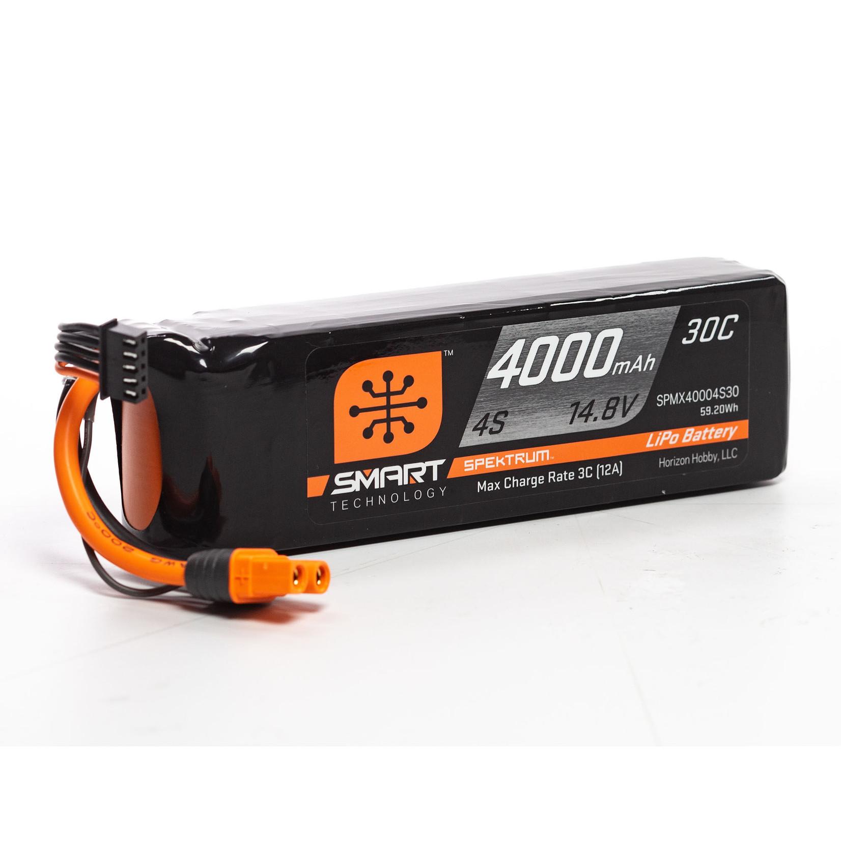 Spektrum SPMX40004S30 Spektrum 4000mAh 4S 14.8V Smart LiPo Battery 30C; IC3