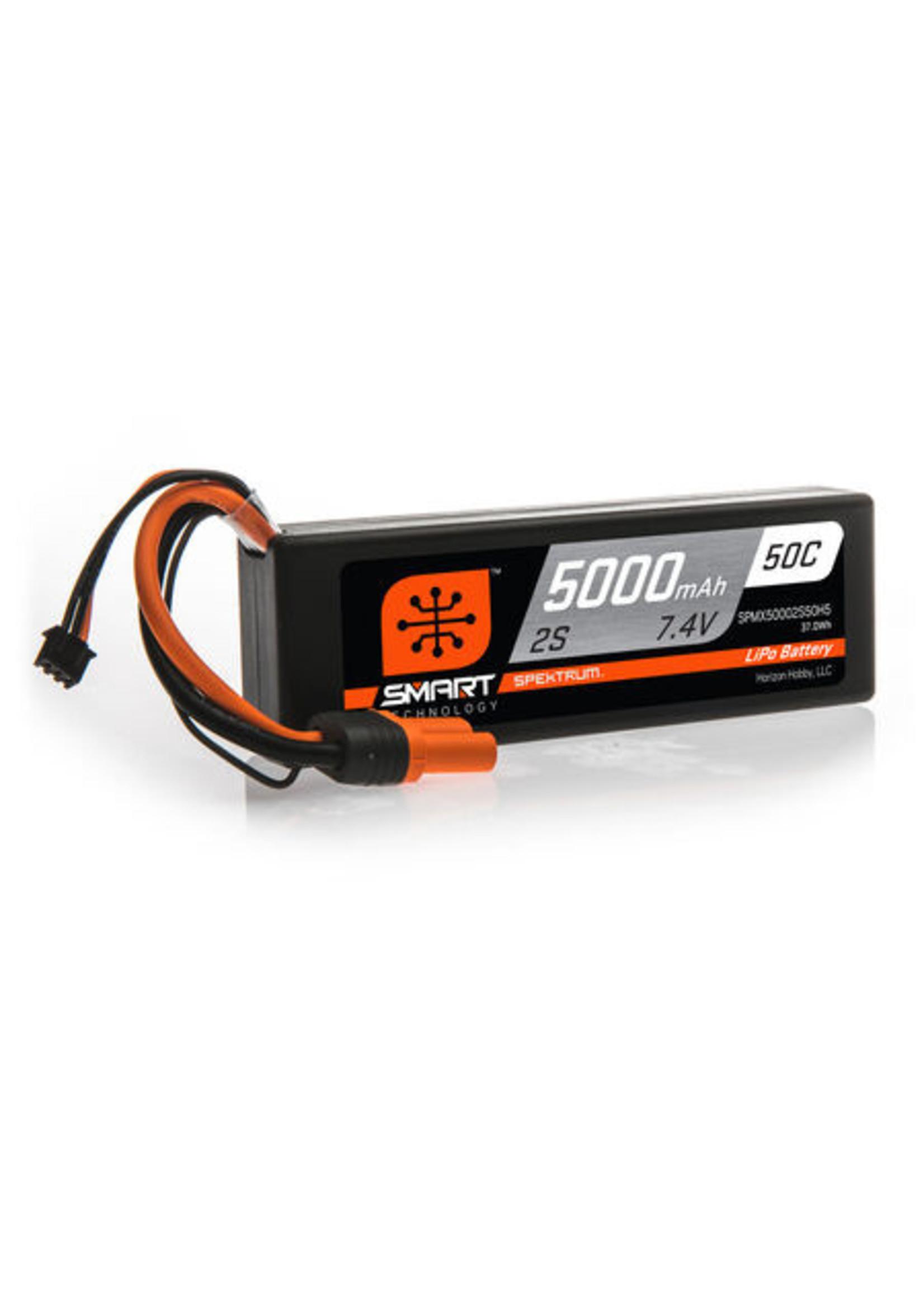 Spektrum SPMX50002S50H5 Spektrum 5000mAh 2S 7.4V 50C Smart LiPo Hardcase; IC5