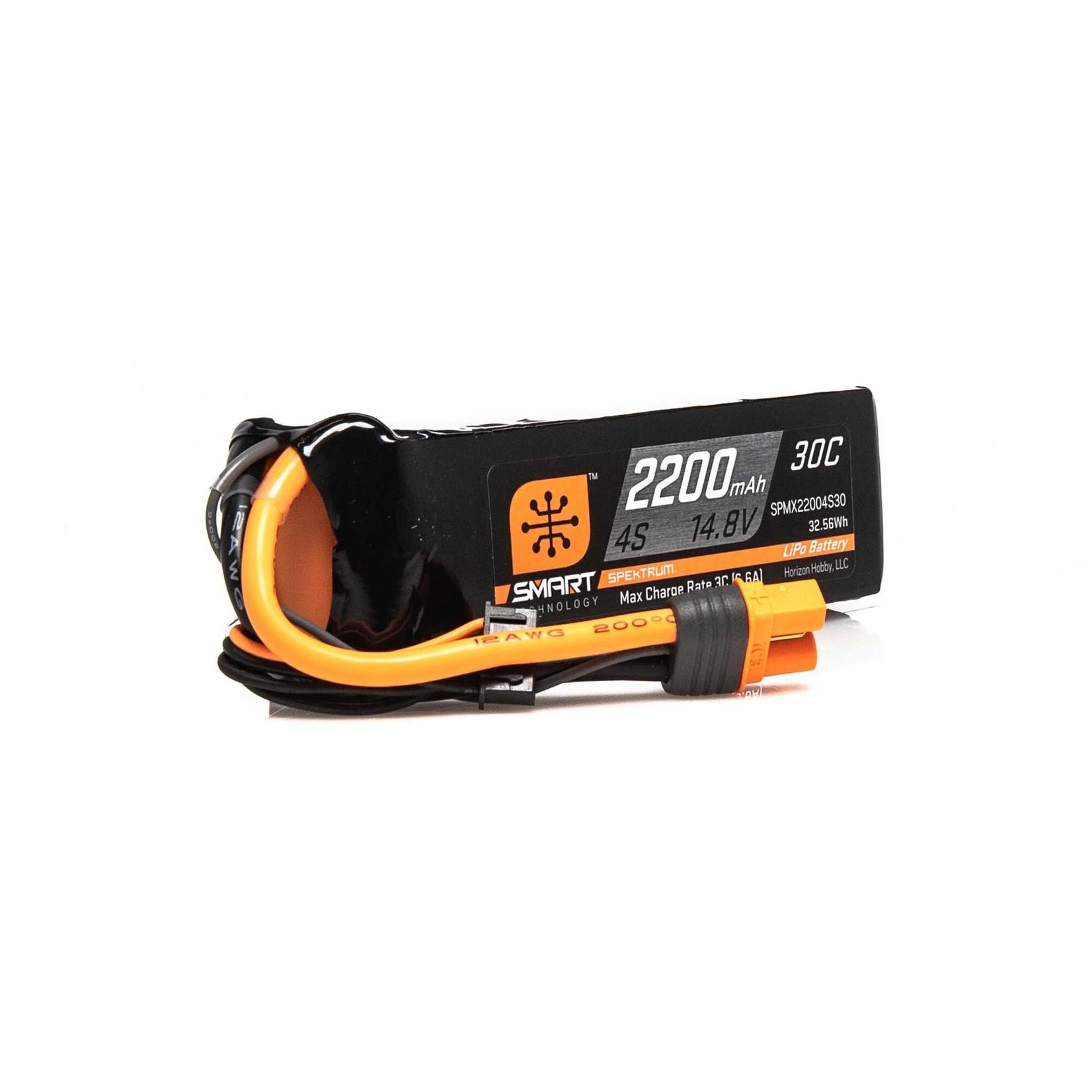 Spektrum SPMX22004S30 Spektrum 2200mAh 4S 14.8V Smart LiPo 30C; IC3