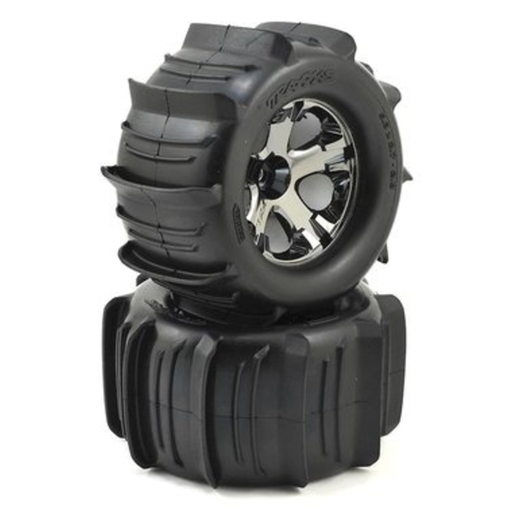Traxxas TRA4175 Traxxas Tires & Wheels, Assembled, Glued (2.8') (All-Star Black Chrome Wheels, Paddle Tires, Foam Inserts) (Nitro Rear/ 4WD Electric Front/Rear) (2) (TSM Rated)