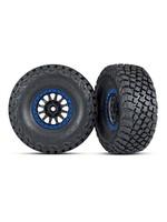 Traxxas TRA8474X Traxxas Tires and wheels, assembled, glued (Method Racing wheels, black with blue beadlock, BFGoodrich® Baja KR3 tires) (2)