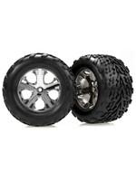 Traxxas TRA3668 Traxxas Tires & wheels, assembled, glued (2.8') (All-Star chrome wheels, Talon tires, foam inserts) (2WD electric rear) (2)