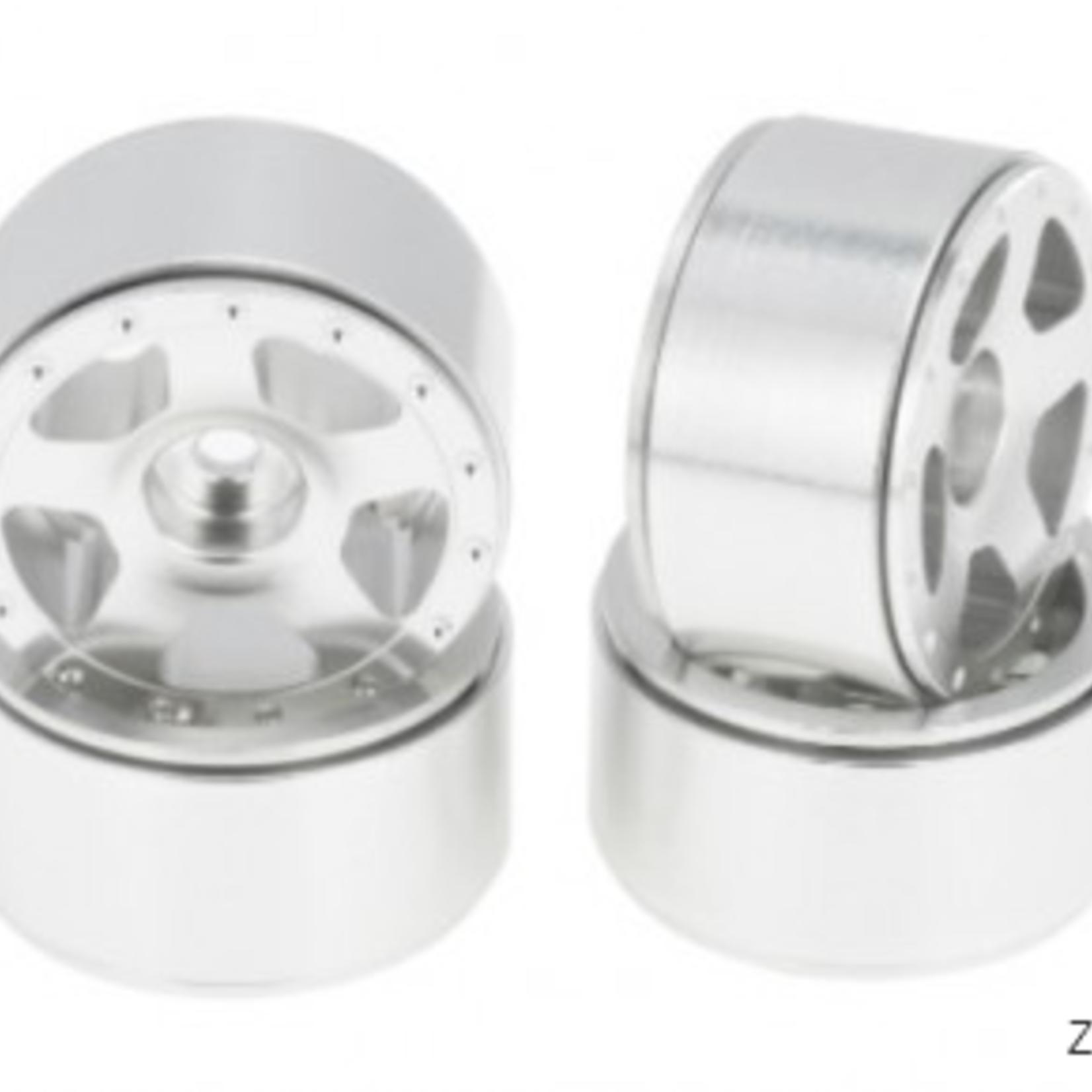 Hobby Details DTSCX24-33A SCX24 Aluminum Starfish Beadlock Wheels, White