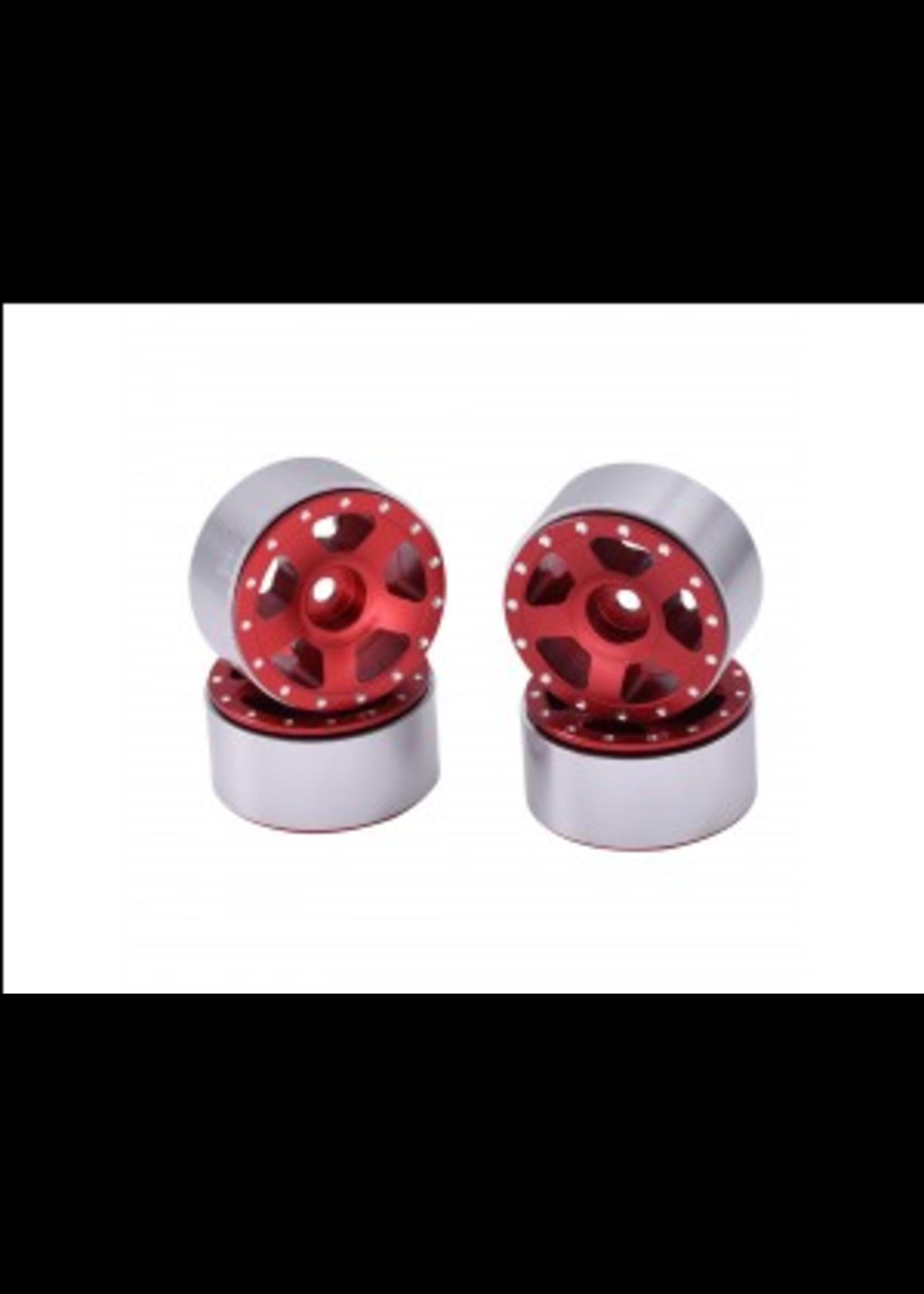 Hobby Details DTSCX24-46A SCX24 Aluminum Starfish Beadlock Wheels, Red