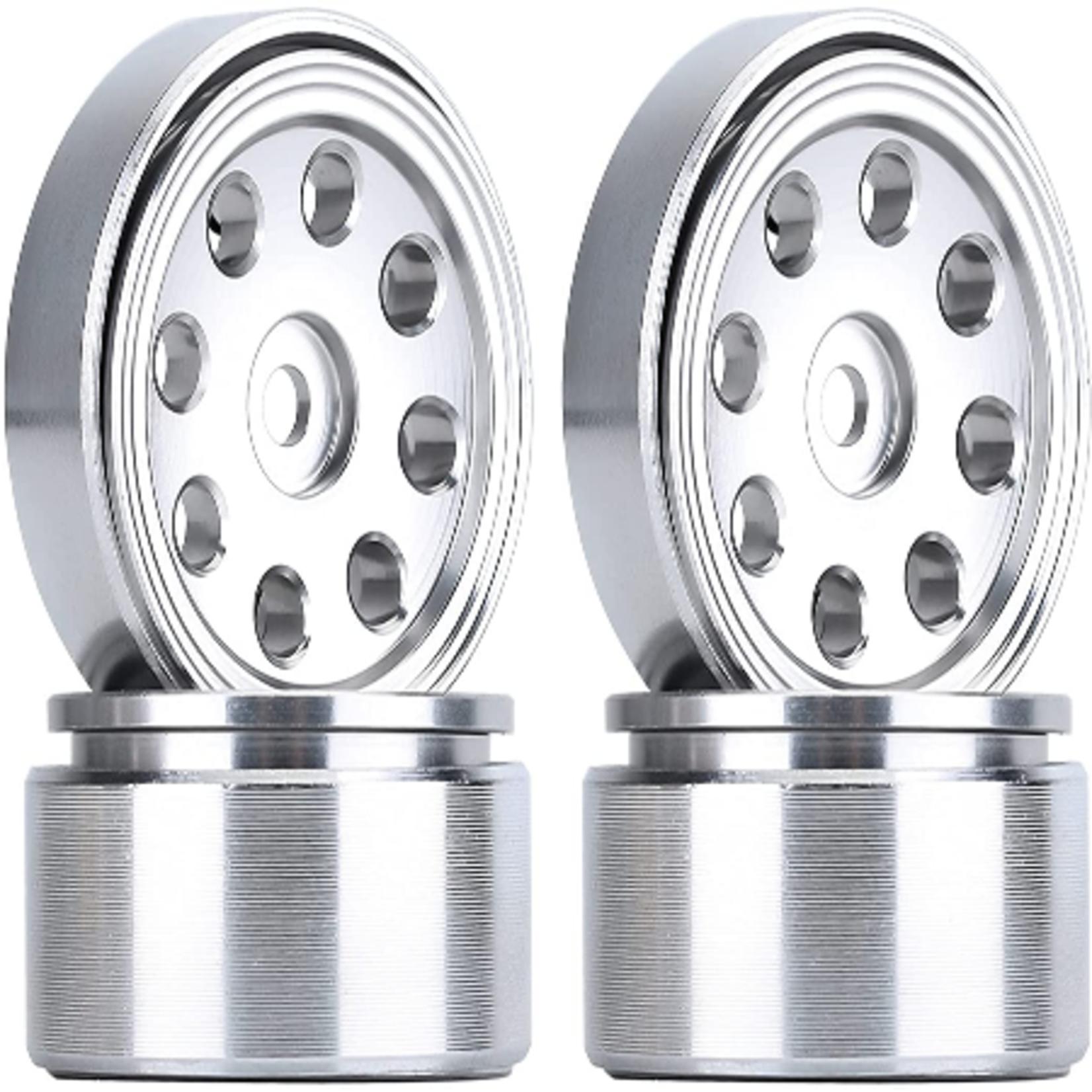 Hobby Details DTSCX24-47A SCX24 Aluminum Flower 8-Hole Beadlock Wheels, White