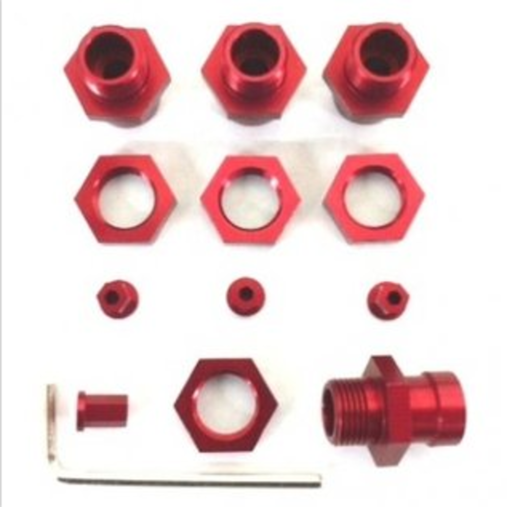 ST Racing Concepts SPTST1654-17R ST Racing Concepts CNC Machined Aluminum 17mm hex adatpers for Slash 4x4/Stampede 4x4/Rally (Red)